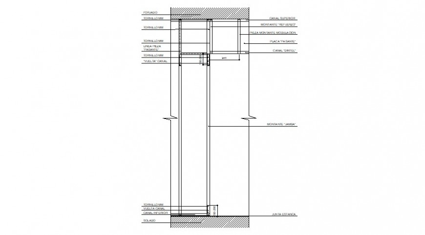 Wood frame for window structure drawing details dwg file