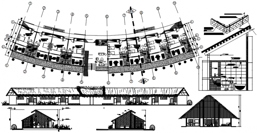 Wood resort elevations and floor plan cad drawing details dwg file