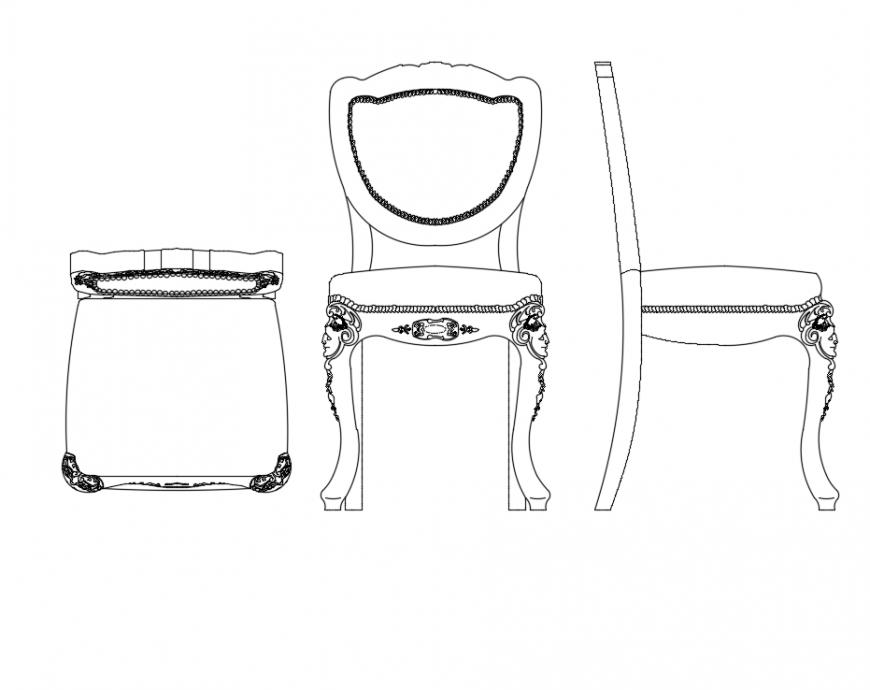Wooden backrest chairs cad blocks design dwg file