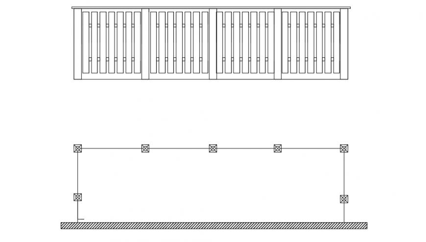 Wooden balcony railing design auto cad file