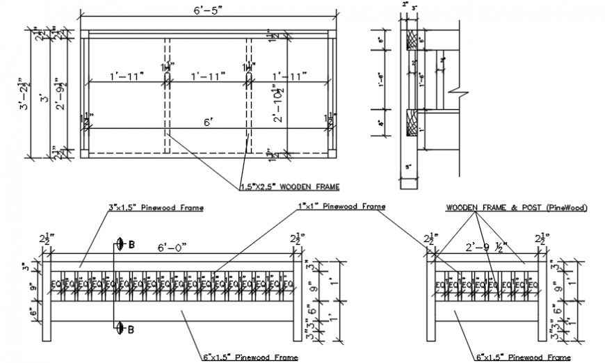 Wooden bed section and wooden structure and carpentry details dwg file