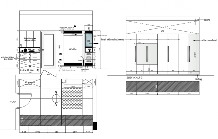 Wooden bedroom wardrobe elevation, section and plan details dwg file