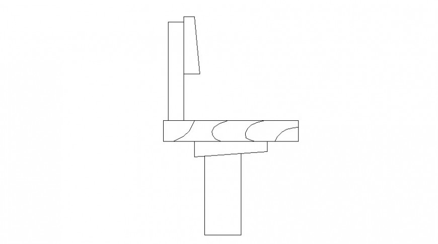 Wooden bench front elevation block cad drawing details dwg file