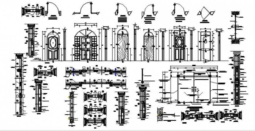Wooden classic house doors elevation and installation drawing details dwg file