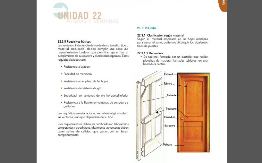 Wooden door detail drawing and description in pdf file.