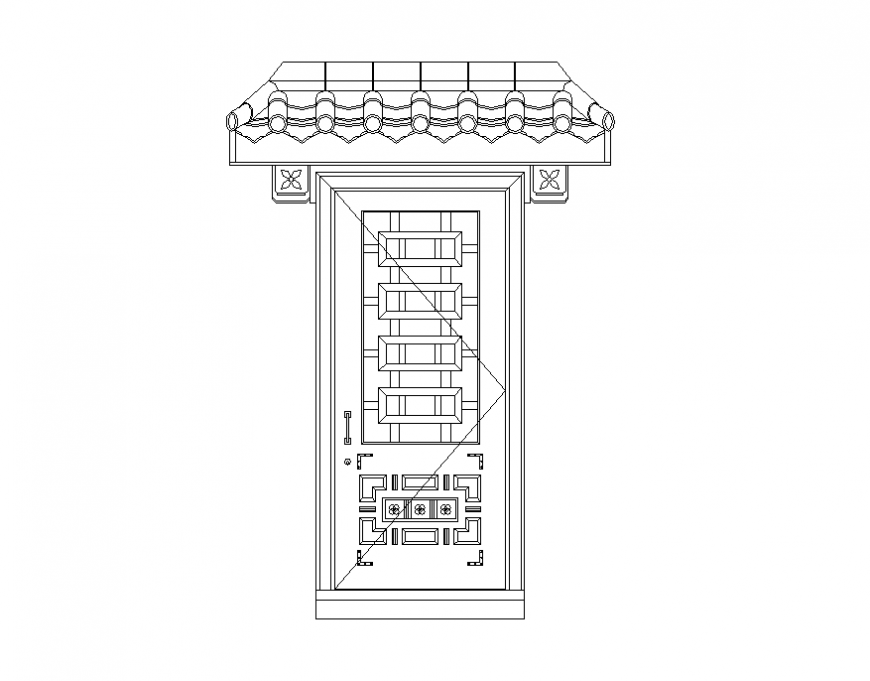 Wooden door detail elevation 2d view layout file