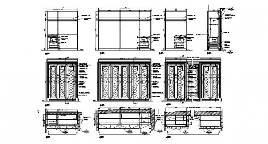 Wooden doors and windows elevation and installation drawing details dwg file