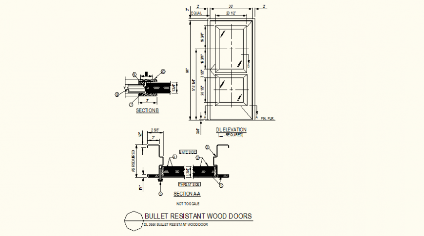 Wooden doors detail elevation and section plan dwg file