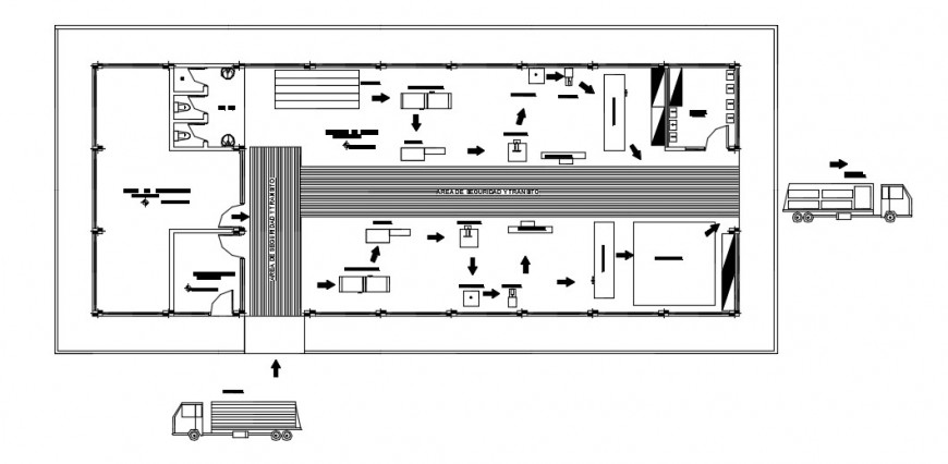Wooden factory top view layout plan detailing dwg file