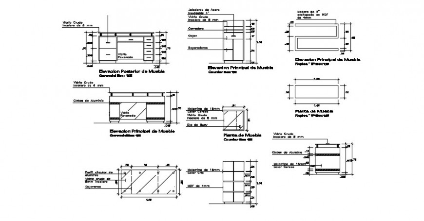 wooden furniture blocks detail cad file