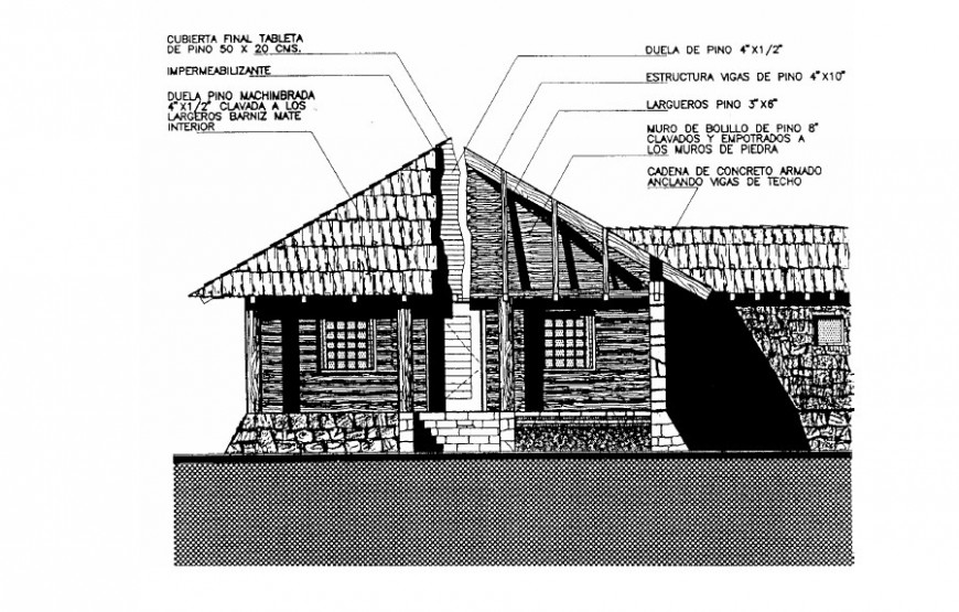 Wooden house elevation drawing in AutoCAD file.