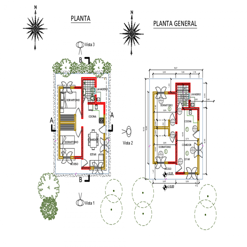 Wooden house general layout plan details dwg file
