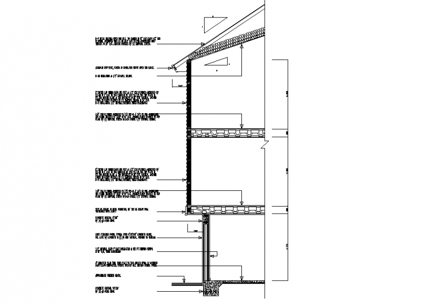 Wooden house section drawing in dwg file.