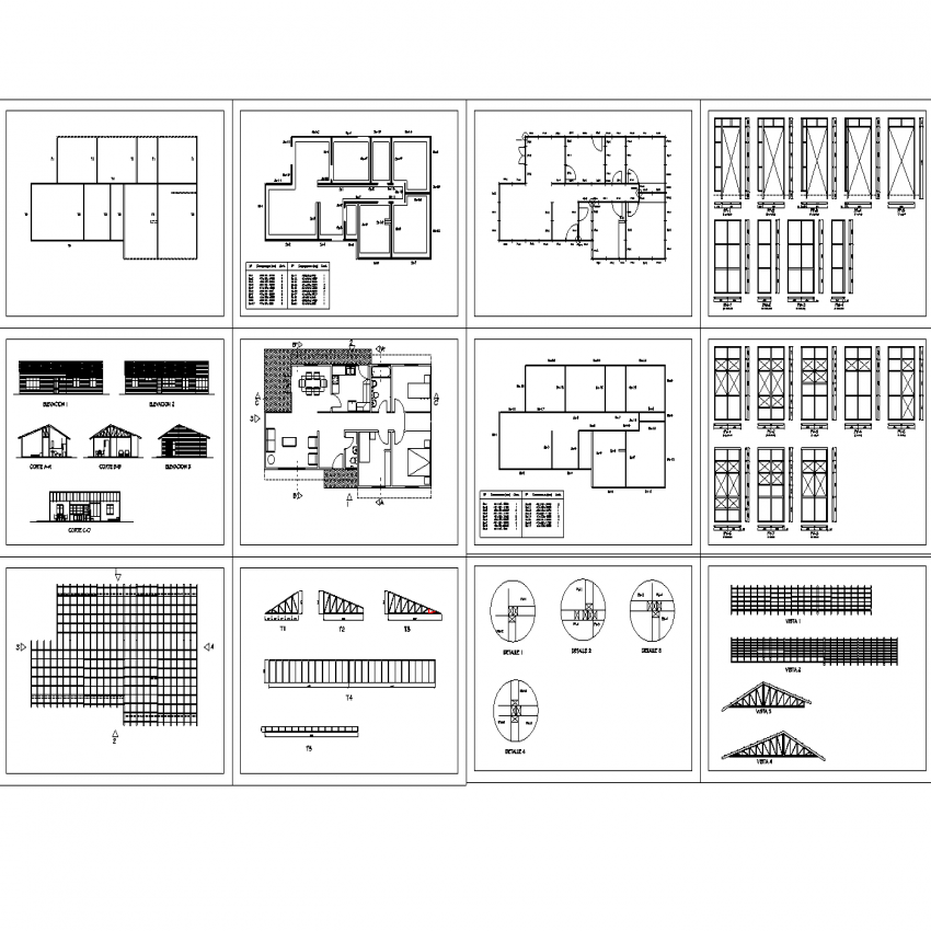 Wooden housing plan, elevation and section autocad file
