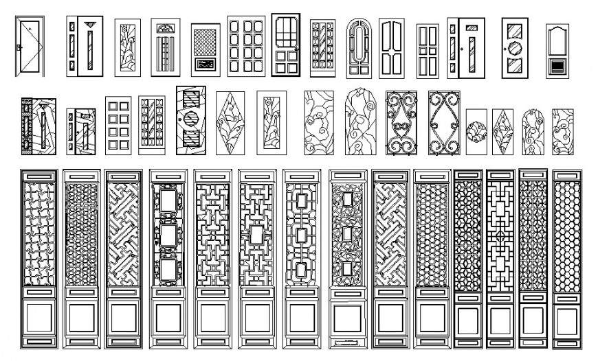 Wooden multiple classic door elevation blocks cad drawing details dwg file