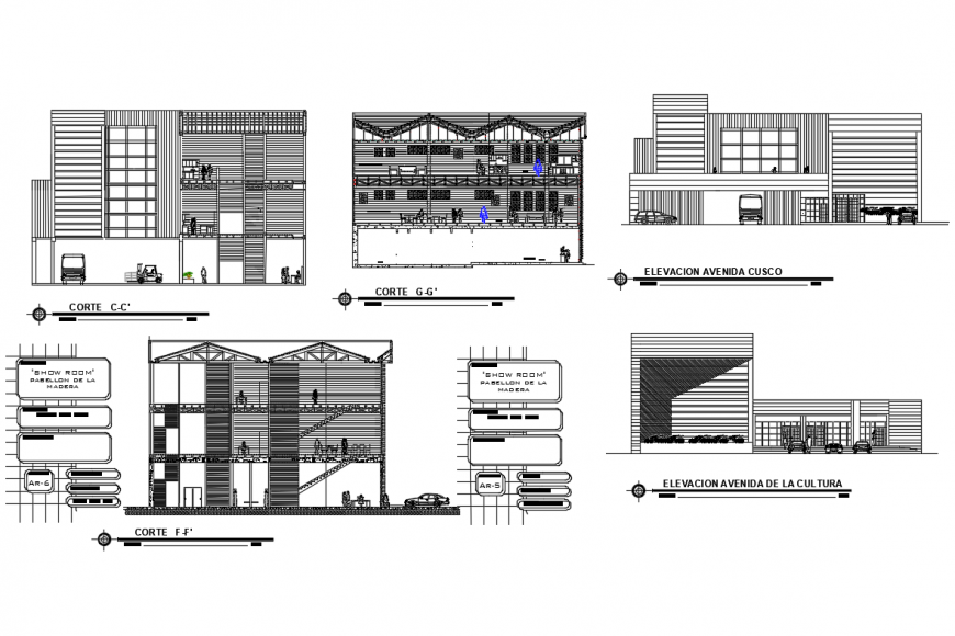 Wooden pavilion showroom elevation, section, floor plan and auto-cad details dwg file