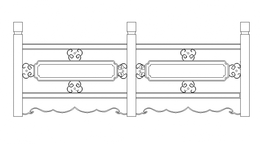 Wooden railing block cad drawing details dwg file