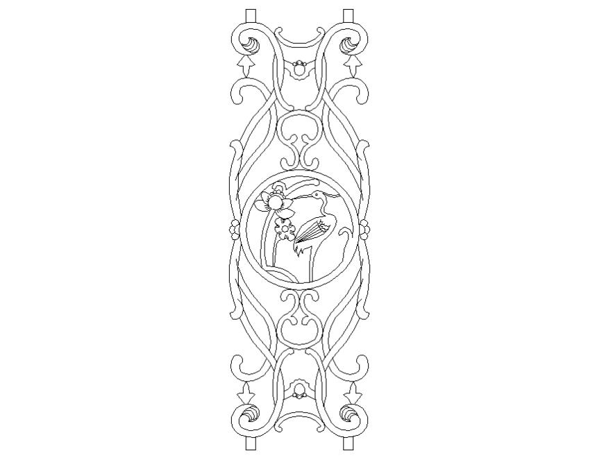 Wooden railing block design cad drawing details dwg file