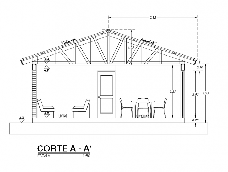Wooden roof house facade sectional details dwg file