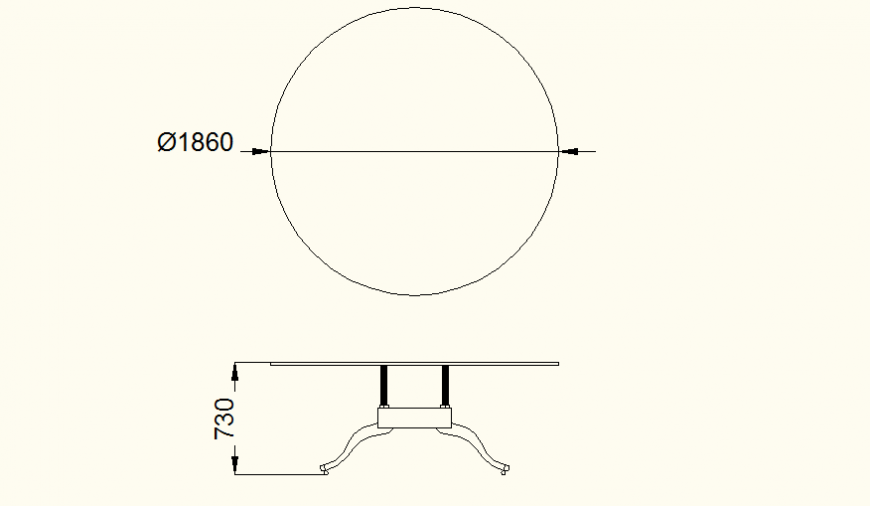 Wooden round dining table detail plan autocad file