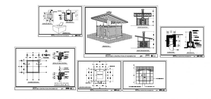 Wooden shelter elevation, section, proposed construction and chimney details dwg file