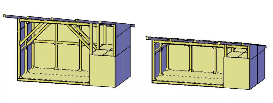Wooden shelter house type 3d model cad drawing details dwg file