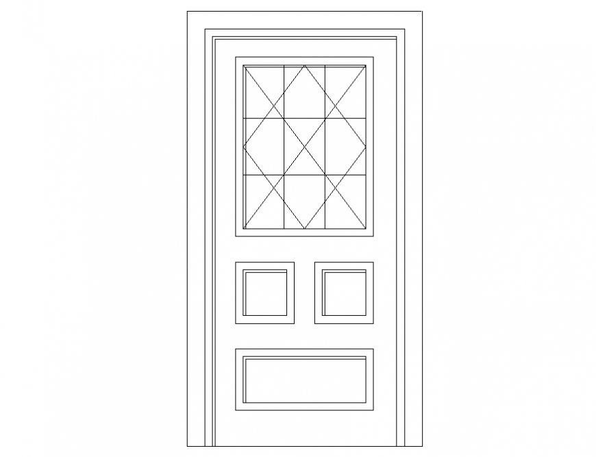 Wooden single door cad design dwg file