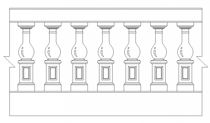Wooden staircase railing front elevation cad block details dwg file