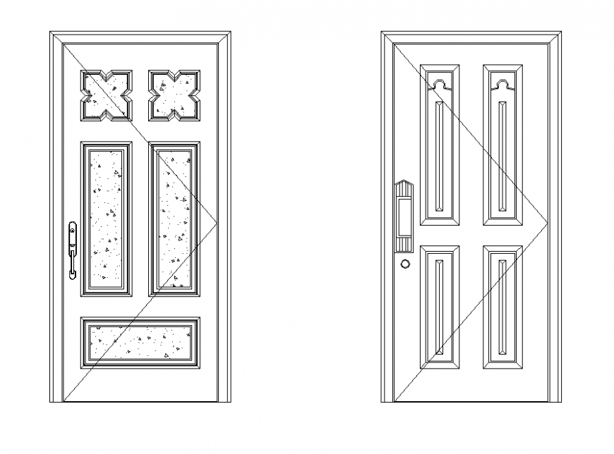 Wooden structure door detail elevation 2d view layout file