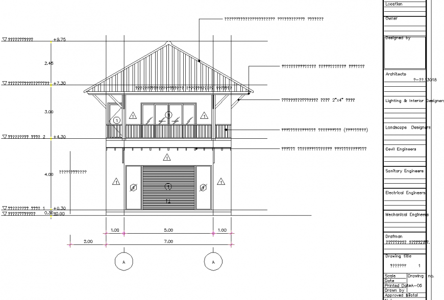 Wooden structure in house detail drawing in dwg file.