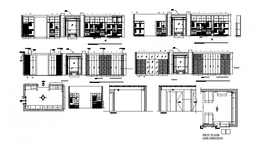 Wooden wardrobe elevation, section, carpentry and plan cad drawing details dwg file