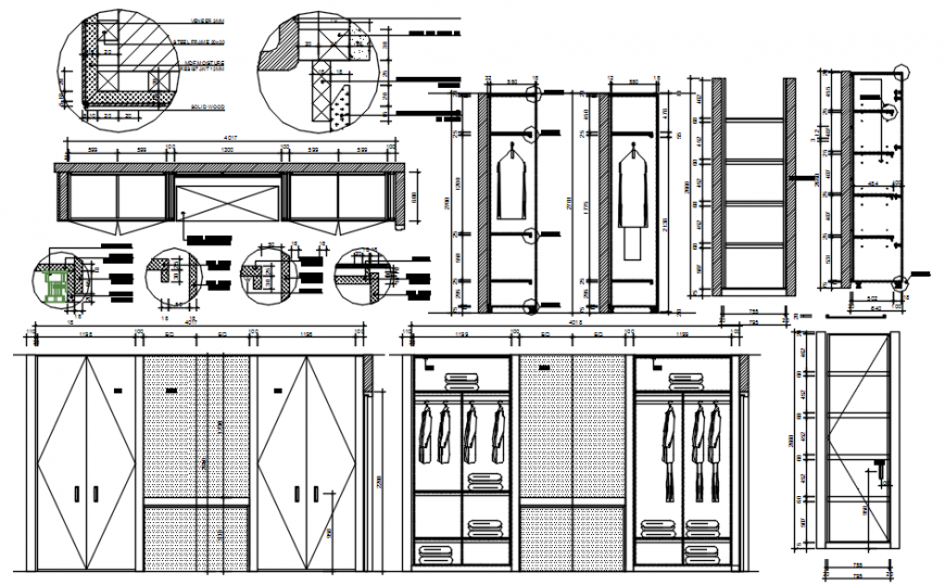 Wooden wardrobe elevation, section, plan and carpentry 2d drawing details dwg file