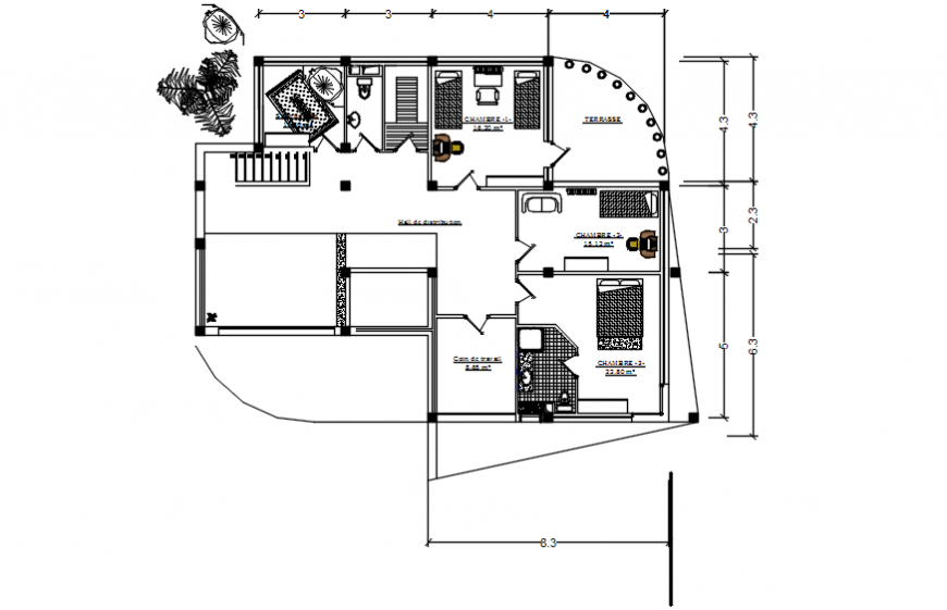 Work layout plan of house 2d view autocad software file