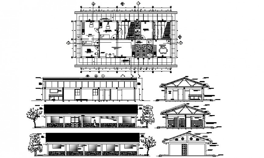 Work plan of an office building with elevation and section autocad