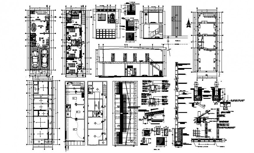 Work plan of Apartment with section drawing in autocad