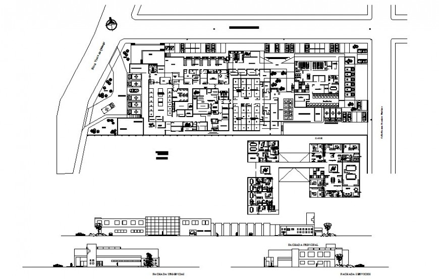 Work plan of Hospital with elevation autocad file