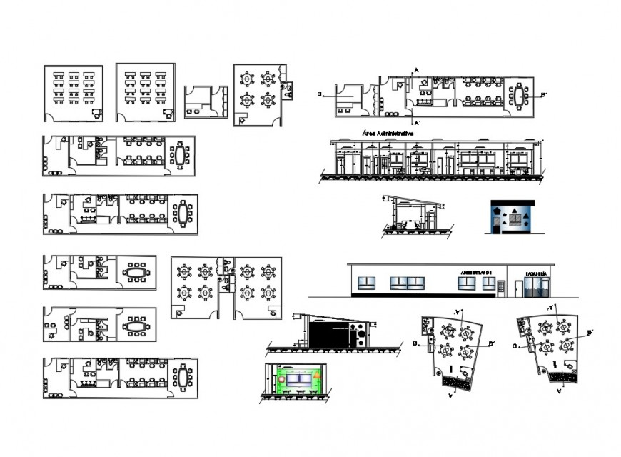 Work shop detailed architecture project of kinder garden dwg file
