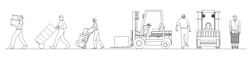 Workers carrying detail elevation 2d view layout dwg file