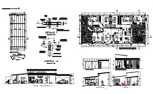Guest House Floor Plans In AutoCAD File
