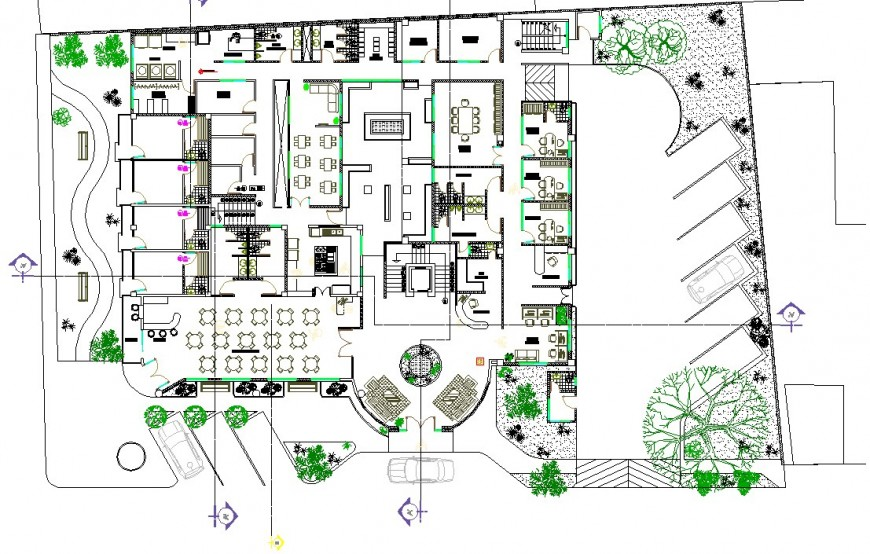 Working commercial business hub planning detail dwg file
