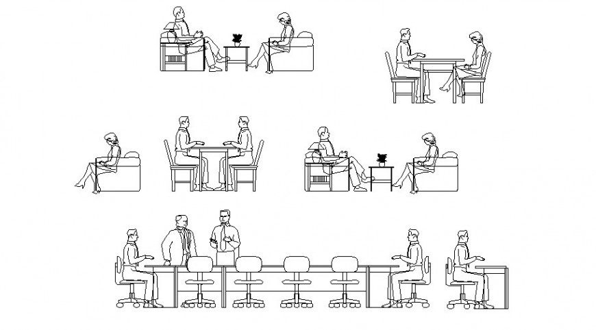Working corporate people elevation block cad drawing details dwg file