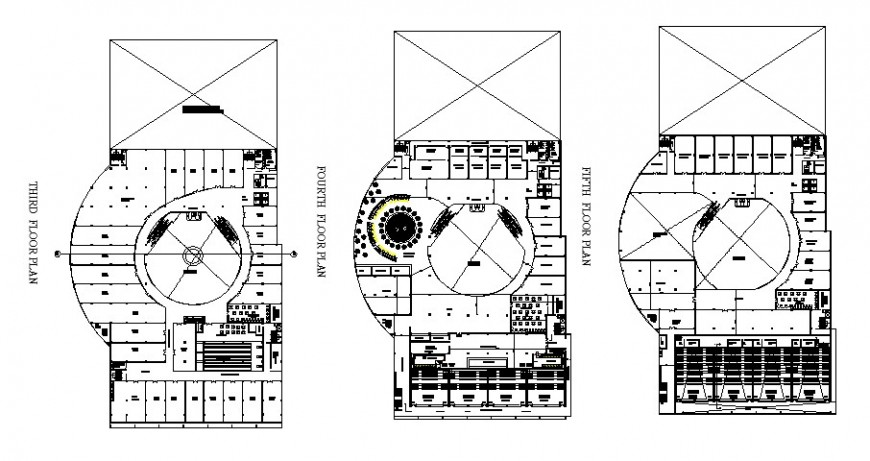 Working detail plan of shopping centre in dwg file.