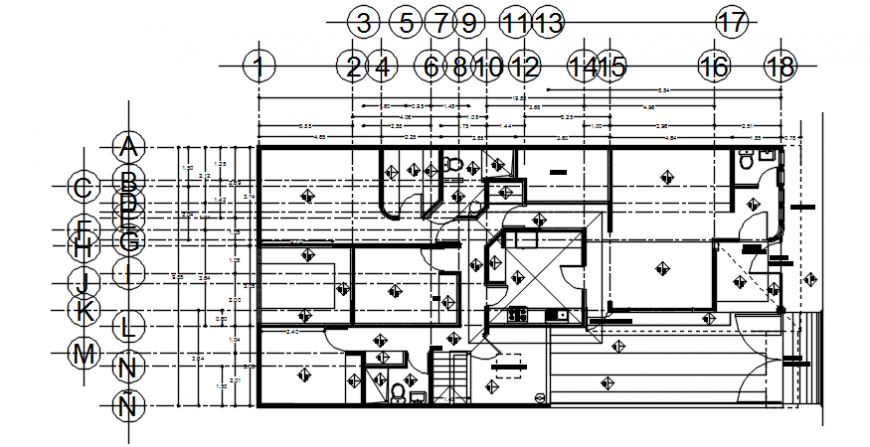 Working drawing of a residential house dwg cad file