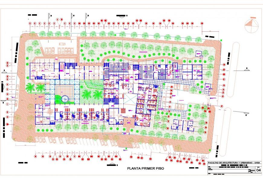 Working Hospital plan detail autocad file