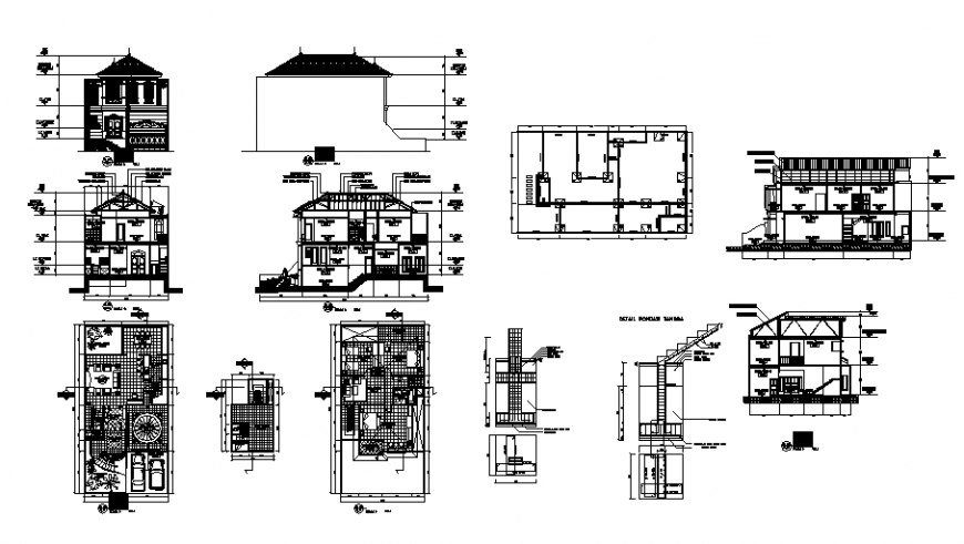 Working house detail plan, elevation and section layout file