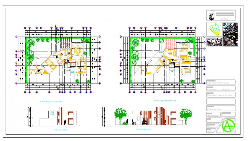 Working Layout & Elevation Of Bungalow design drawing