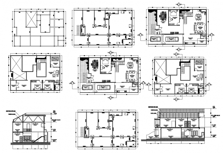 Working plan and section of residential house 2d view dwg file