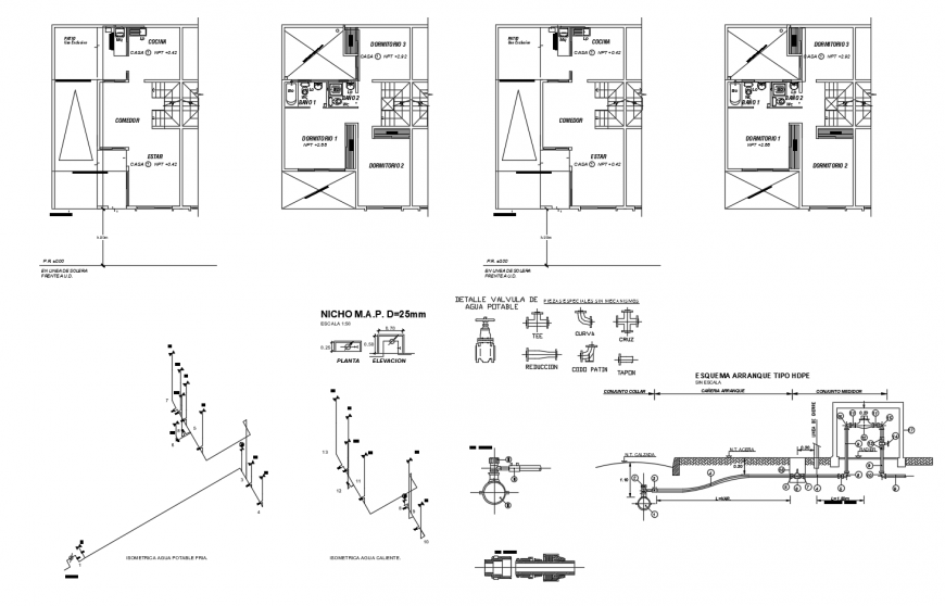 Working plan of housing units 2d view autocad file