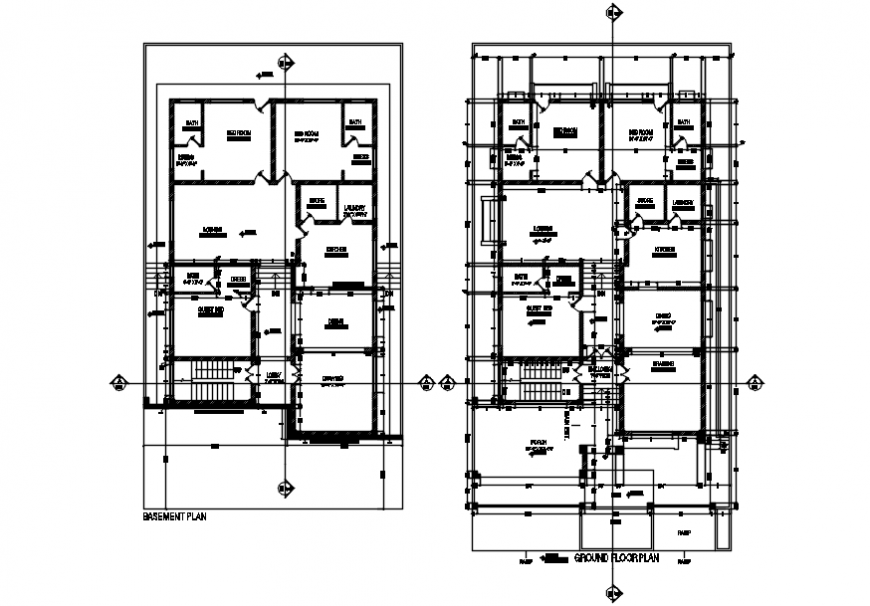 Working plan of residential building cad file