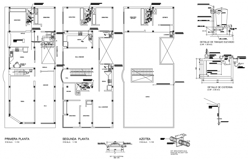 Working plan of residential house 2d view dwg file